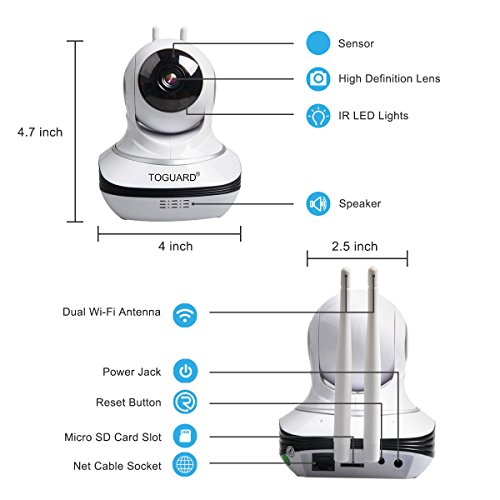 Toguard Security IP Camera Cloud storage space Live Steam HD residential wireless Surveillance IP Camera WiFi newborn baby Monitor utilizing Night Vision Pan Tilt Two manner Talk Free App supports iOS Android Dome Cameras