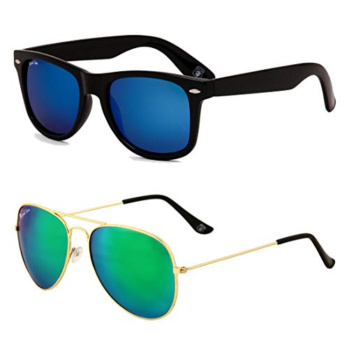 Royal Son Blue Mirrored Wayfarer and Green + Blue Mirrored Aviator Women Sunglasses Combo