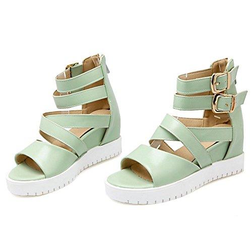 COOLCEPT Femmes Mode Cheville Sandales Orteil ouvert Augmentation Chaussures Vert