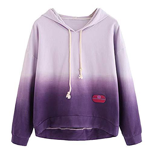 OSYARD Damen Farbblock Tie Dye Print Hooded Sweatshirts, Frauen Langarm Kapuzenpullover Colorblock Tie Dye Print Pullover Shirt Bluse (XL, Lila) - Tie-dye-sweatshirt Frauen Für