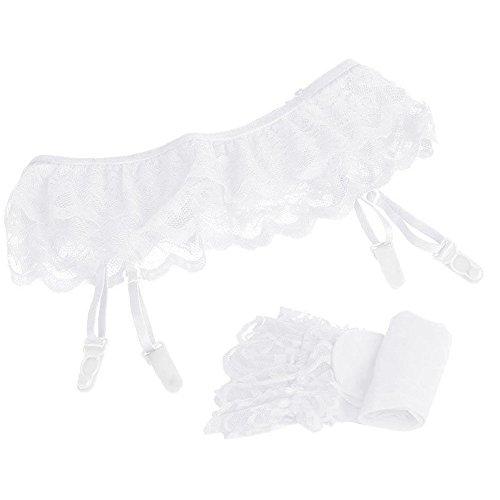 Dessous Spitzen Strumpfband + Unterwäsche + Strümpfe Frauen Reizvolles Spitze Lace Perspektive Oberschenkelstrumpf Strumpfhalter Strumpfhose Unterwäsche WH Sunday (Weiß, Freie Größe) -