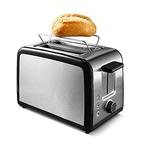 Tchibo Automatik Toaster für 2 Scheiben mit Brötchenaufsatz, Auftau- und Aufbackfunktion, 800 Watt, Edelstahl, schwarz/silber