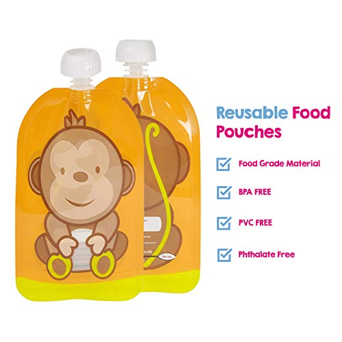 Fill n Squeeze The Reusable Baby Food Pouch| Bottom Opening Double Zipper For Easy Cleaning | 6 X 150 Ml Pack & Clean Pouches Perfect Weaning, Travel, Purees, Organic Homemade Food, Yoghurts, Pureed