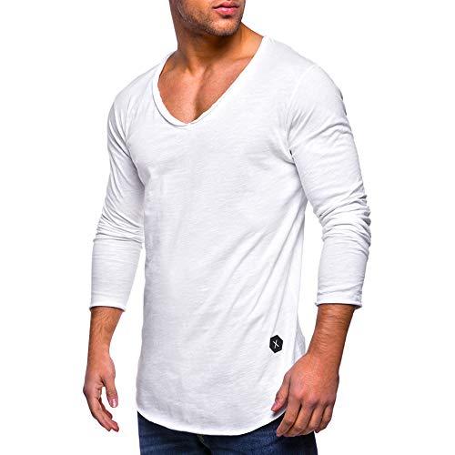 KPILP Männer Herbst Tee Slim Fit O Hals V-Ausschnitt Langarm-Muskel Baumwolle lässig Oberteile Bluse Hemden Outwear Sportkleidung Grundlegende Shirt(X-weiß, 3XL