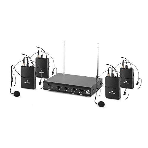 auna VHF-4-HS - 4-Kanal VHF-Funkmikrofon Set, Funk-Mikrofon System, 4 x kabelloses Headset Mikrofon, 50 m Reichweite, Lautstärkeregler, LED, lange Betriebszeiten, Klinken-Ausgänge, schwarz