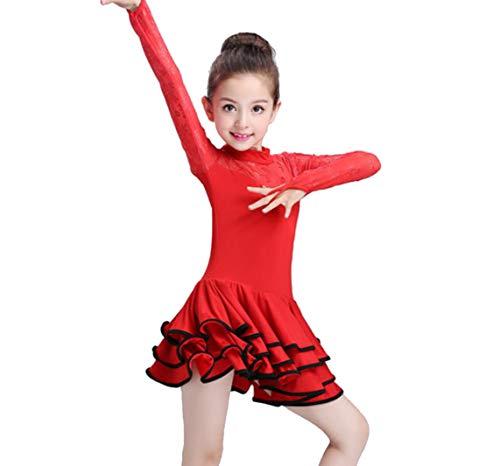 SMACB Kinder Latin Dance Kostüme Mädchen Langarm Spitzenkleider Kleider ()