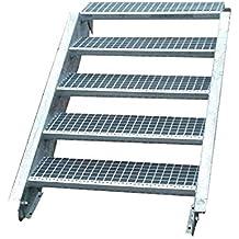 Wangentreppe Robuste Au/ßentreppe Inklusive Zubeh/ör 16 Stufen Stahltreppe mit einseitigem Gel/änder Stabile Industrietreppe f/ür den Au/ßenbereich Breite 80cm Geschossh/öhe 274-340cm