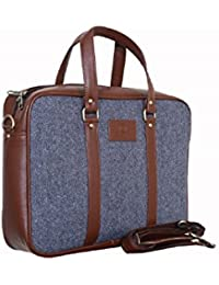 Emerence Synthetic Leather 15.6-Inch Laptop Executive Office Bag (Blue)