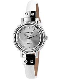 Trend de Wares de mujer reloj de pulsera plata blanco brillantes analógico de cuarzo metal piel mujer reloj