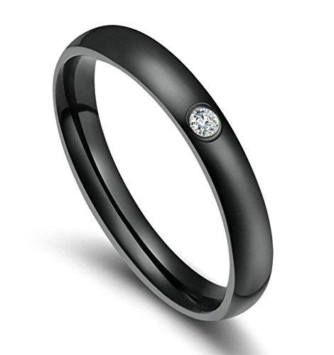 Aooaz Schmuck Damen Ring,Intarsien CZ Polieren Klassisch Edelstahl Ring für Damen Schwarz Größe 49(15.6) (Damen Orange Klassische Arch)