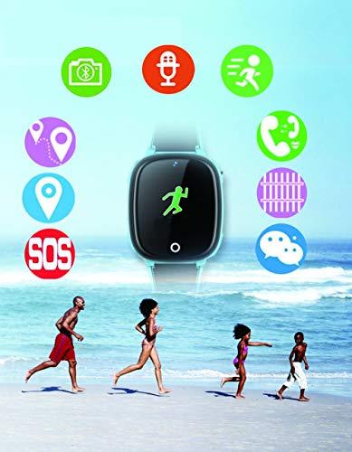 DUWIN Niños Inteligente Relojes, GPS Kids SmartWatch con Camara, Flash luz, SOS, Nocturna Pantalla táctil, Reloj Inteligente Anti - Lost Smart Tracker Pulsera Compatible para iPhone Android,Blue