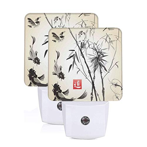 Artistic Birds Fishes And Bamboo Leaves Abstract Painting Oriental Style Auto Sensor LED Dusk to Dawn Night Light Set Of 2 White -