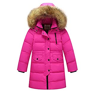 Amur Leopard Kids Girls Boys Girls Winter Ruffle Hood Padded Coat Quilted Coat with Fur Trim Hooded Fur Collar Long Down Jacket Outwear, Rose, 8-9 Years