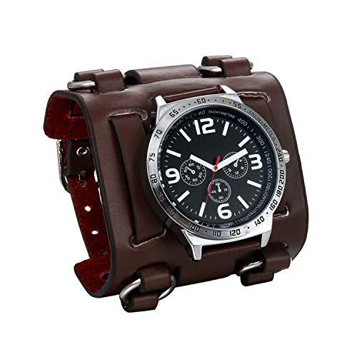JewelryWe Herren Armbanduhr Analog Quarz 30M wasserdichte Sportuhr Uhren mit Braun Breit Leder Echtleder Armband -