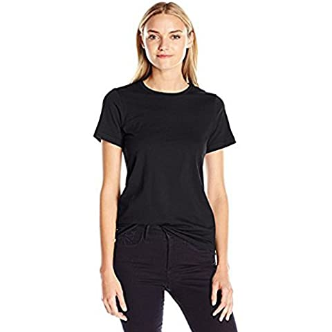 Women's Fine Jersey Classic T-shirt American Apparel Durable Ribbed Crew Neckline Reinforced Taping at Shoulder (Large, Black)