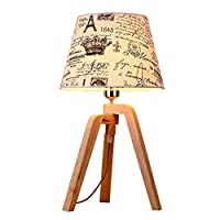 H.aetn Table Lamp Solid Wood Table Lamp Simple Living Room Table Lamp Personalized Study Bedroom Lamp Hotel Bedside Lamp Soft Lighting A+ (Size : 30x30x54m)