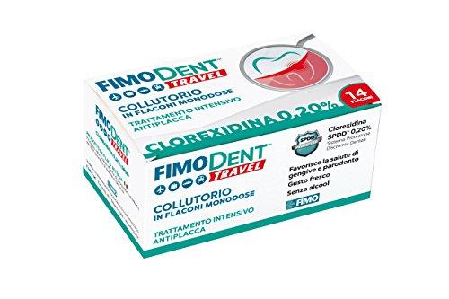 Fimodent Travel Collutorio alla Clorexidina 0.20% in 14 pratiche monodosi da 10mL. Con SPDD (Sistema Protezione Discromie Dentali) e gusto menta. Trattamento antiplacca e antibatterico intensivo