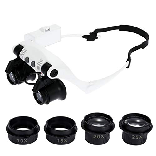 GuDoQi 10X 15X 20X 25X Lupenbrille Mit Licht Beleuchtet Reparatur Magnifier Lupe Stirnband Doppel Augen Kopflupe Handfrei Für Juweliere Hobby Elektriker Nähen