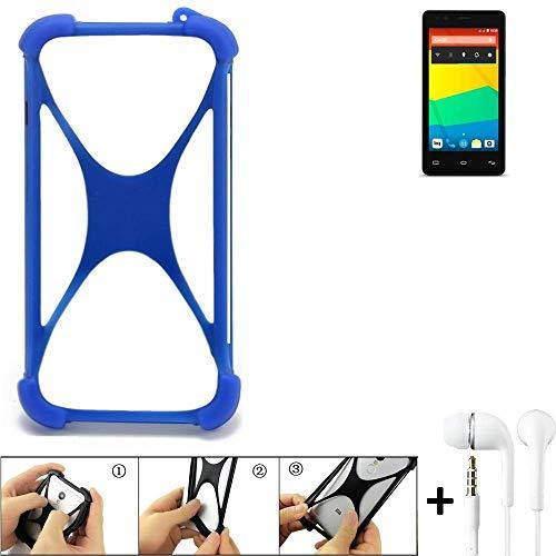 K-S-Trade Handyhülle für BQ Readers Aquaris E4.5 Bumper Schutzhülle Silikon Schutz Hülle Cover Case Silikoncase Silikonbumper TPU Softcase Smartphone, Blau (1x), Headphones