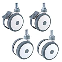 "Geovne 3"" Threaded Rod Caster Wheels,Swivel Rubber Caster Wheels,Casters Mute,Safety,Suitable for Furniture,Medical Equipment,Beauty Equipment"