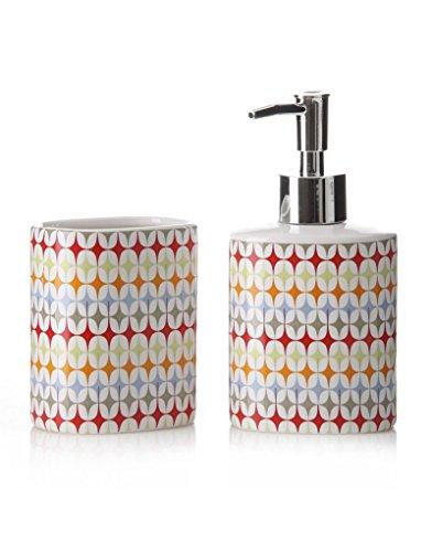 Home Line Juego baño Fusión ceramico con dispensador y vaso (8,20 x 6,20 x 16 cm)