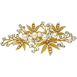 Mansiyaorange Floral Funky Fashionable Indo western Designer Fancy Wedding party wear Golden Hair Accessories Side pin for Girls And Women
