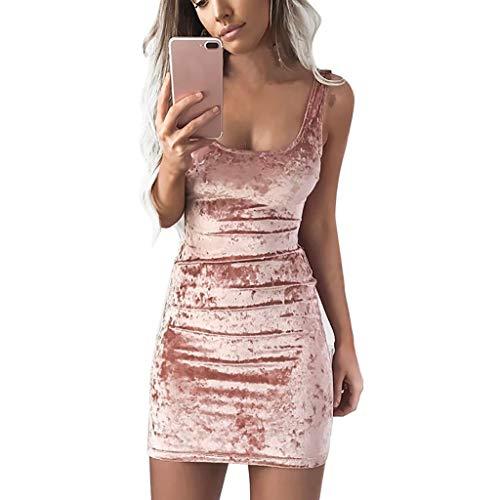 Beikoard Damen Goldsamt Eckiger Ausschnitt quadratischer Kragen Weste Kleid Bodycon-Kleid Casual Sexy Ballkleid Mini Wickelkleid