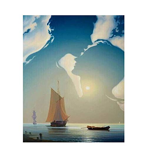 QAZZSF DIY Malen Nach Zahlen Himmel Paar Umarmt Ozean Segelboot Leinwand Wandkunst Geschenke Ölfarbe Foto 40X50CM