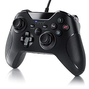 CSL – Gamepad für PC im Xbox Design – Controller kabelgebunden – hochwertige Analogsticks – geringe Deadzone – hohe Reaktionsgeschwindigkeit – Dual Vibration Feedback – Gummierung für sicheren Grip