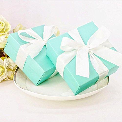 JZK® 50 x Schachtel Geschenkbox Gastgeschenk Kartonage klein Süßigkeiten Kartons Bonboniere Kasten, Tischdeko Favours Box für Hochzeit Geburtstag Taufe Party (blau)
