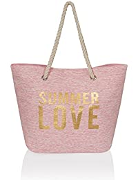 Boutique Summer Bags - Bolsa de playa de Poliéster  Mujer rosa Summer Love Pink Talla única