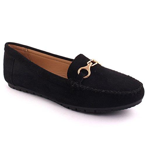 Unze Nouvelles Femmes 'Bond' Balades Occasionnelles Mesdames Mocassin de Conduite l'école Télévision Boucle Office Carnival à Enfiler Chaussures Pompes Size UK 3-8
