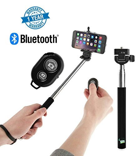 Supreno Remote Operation Selfie Stick With Bluetooth Remote Great for Vblogs, Group pictures, Outings Compatible With Mi A1, Redmi Note-4 & Moto G5 (1 Year Warranty, Assorted Colour)