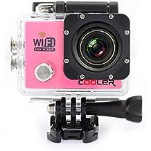 WIFI Impermeable Videocámara de KIPTOP  cámara del deporte 12MP, HD, 1080P, Gran Angular, Sumergible hasta 30m, Incluye múltiples accesorios Rosa