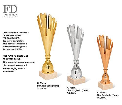 Pokal Trophäe mit Etikett personalisierbar–Farbe Gold/Silber/Bronze–Trio Cups 1° 2° 3° kategorisiert (Trio Bronze)