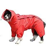 TFENG Hunde Regenmantel mit abnehmbarem Hoodie, Verstellbarer Outdoor-Tunnelzug Hundemantel, Wasserdichte Hundejacke Regenjacke mit Kapuze und Kragenloch, 10 Größen (Rot)