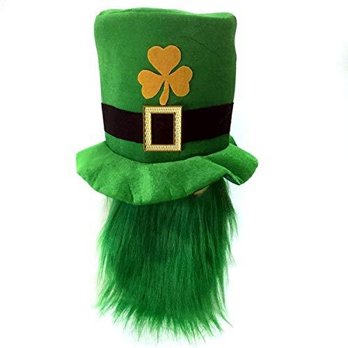 Jinxuny St. Patrick's Day Party Kostüm Hut grün Kobold Shamrock Zylinder mit Bart (Color : Green Beard)
