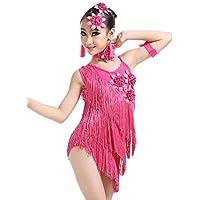 besbomig Bambini Festa Competizione Dancewear Vestiti da Ballo Latino Salsa  Tango - Ragazze Paillettes Nappe Ballroom 45c63419b3ef