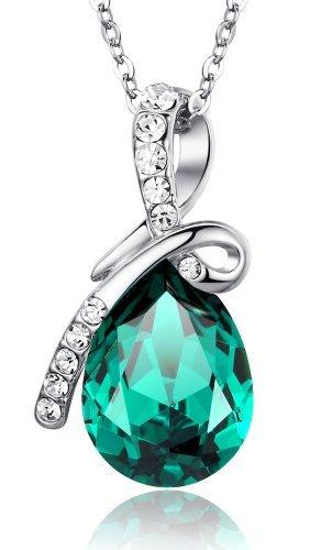 Ciondolo a goccia Amore Eterno, Lacrima in Cristallo Austriaco, Collana con pendente da donna - verde Grande cristallo catena di 45cm 2101601
