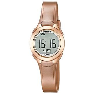 Calypso–Reloj Digital Unisex con Pantalla LCD y Correa de plástico de Color Dorado K5677/3