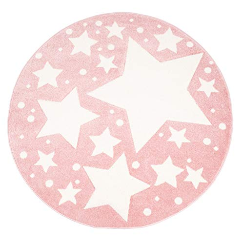 Kinder-Zimmer-Teppich mit Herz Sterne Wolken Anker Designs   rund oder rechteckig   Ideal für Jungen, Mädchen oder im Baby-Zimmer   Ökotex Zertifiziert (Sterne Rosa, 120 cm rund)