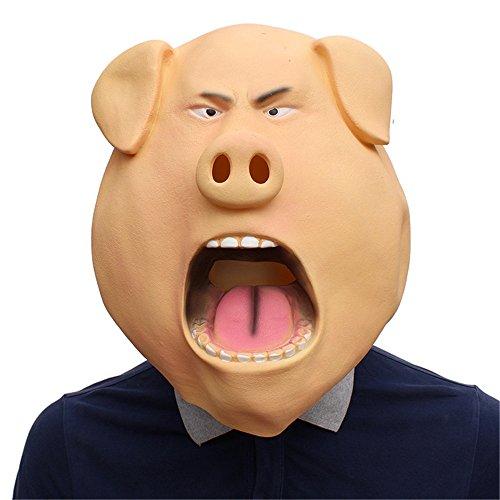 (AnchengKAO Halloween Party Geburtstag Bar Cosplay Requisiten Happy Pig Head Cover Latex Maske.)