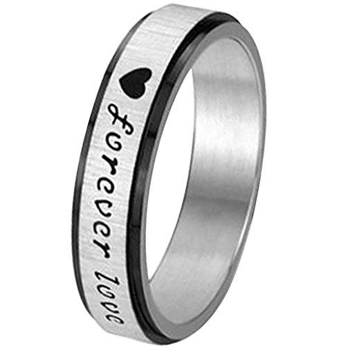 Aooaz-Schmuck-Unisex-RingKlassische-HerzYou-Are-My-Only-Love-Edelstahl-Ehering-Silber-Schwarz