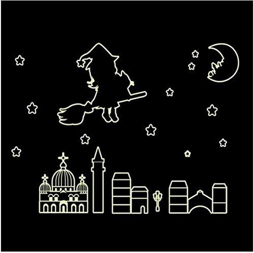 Newberli Bunte Leuchtende Startseite Im Dunkeln Leuchten Wandaufkleber Aufkleber Für Kinderzimmer Niedliche Hexe Geschichte Fluoreszierende Aufkleber Dekor Remonable