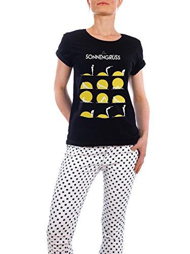 """Design T-Shirt Frauen Earth Positive """"Der Sonnengruss"""" - stylisches Shirt Sport Menschen von Boris Draschoff Schwarz"""