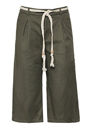 Fresh Made Damen Capri Hose in Culotte-Form | Leichte Hose mit Flechtgürtel in Piqué-Optik
