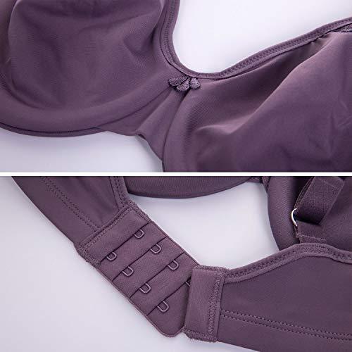 DELIMIRA Damen Große Größen BH - Vollschalen mit Bügel Klassischer Minimizer BH Schwarzviolett 70D - 4