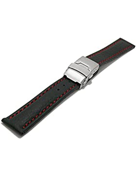 Meyhofer Uhrenarmband Drayton 24mm schwarz Leder genarbt rote Naht mit Faltschließe MyHeklb90/24mm/schwarz/roN/FS
