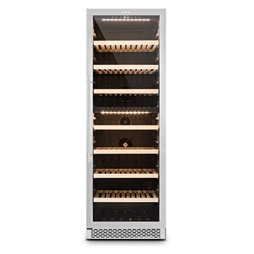 Klarstein Gran Reserva • Weinkühlschrank • Getränkekühlschrank • Gastro Kühlschrank • 2 Zonen • 379 Liter • 7 Holzeinschübe • 166 Flaschen • LED • Touch • leise • schwarz-silber