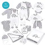 Baby Sweets Baby Erstausstattung Unisex weiß grau   Motiv: Little Elephant   Baby Set mit 15 Teilen für Neugeborene & Kleinkinder   Größe: Newborn (56)